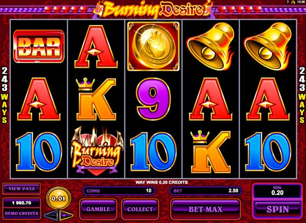 Burning Desire Machine à Sous Gratuit (243 Lignes) Microgaming