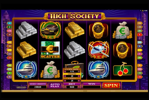 High Society Machine à Sous Gratuit (25 Lignes) Microgaming