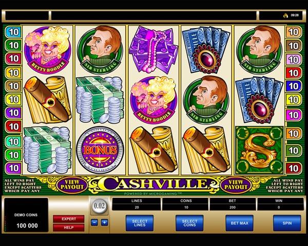 Cashville Machine à Sous Gratuit (20 Lignes) Microgaming