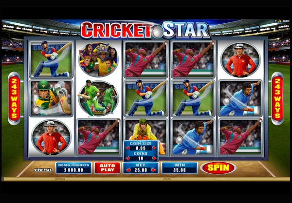 Cricket Star Machine à Sous Gratuit (243 Lignes) Microgaming