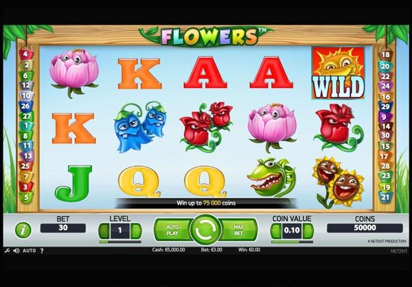 Flowers Machine à Sous Gratuit (30 Lignes) Netent