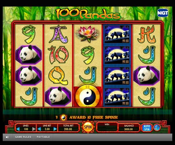 100 Pandas Machine à Sous Gratuit (100 Lignes) IGT