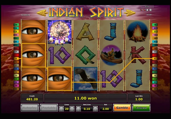 Indian Spirit Machine à Sous Gratuit (20 Lignes) Novomatic