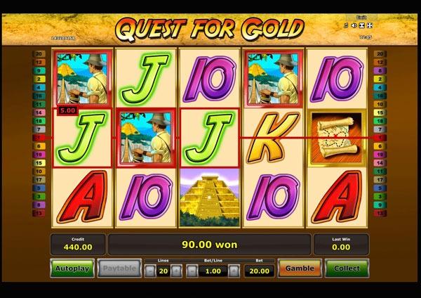 Quest for Gold Machine à Sous Gratuit (20 Lignes) Novomatic