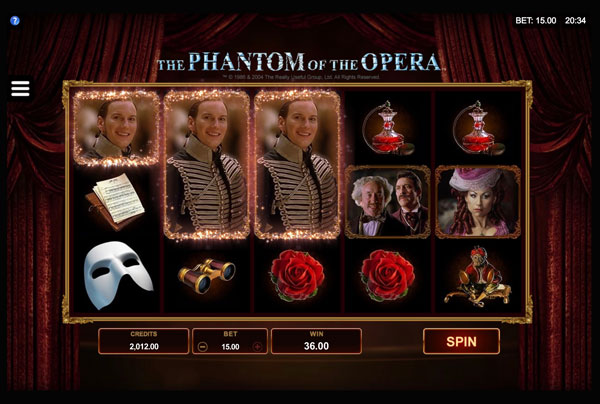 Phantom of The Opera Machine à Sous Gratuit (243 Lignes) Microgaming