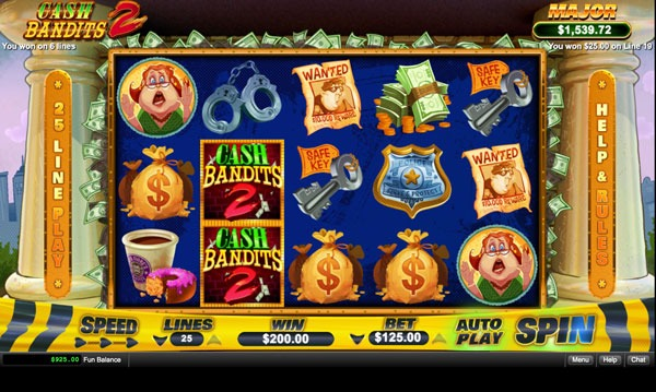 Cash Bandits 2 Machine à Sous Gratuit (25 Lignes) RTG Sans Inscription