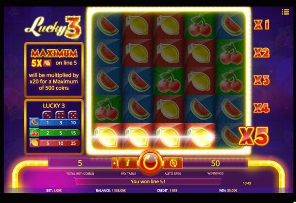 Lucky 3 Machine à Sous Gratuit (5 Lignes) Isoftbet