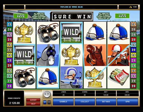 Sure Win Machine à Sous Gratuit (25 Lignes) Microgaming